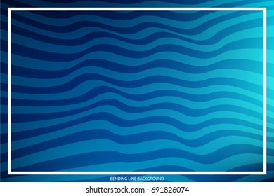Abstract Bending Line on Colored Background with White Frame for Text, Slogan, Header. Geometric Strokes Curved in Form Waves. Vector Illustration