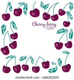 Abstract Berries frame. Hand drawn floral card design with natural elements: cherries and leaves. Spring holiday poster, article scandinavian style design idea, banner template.