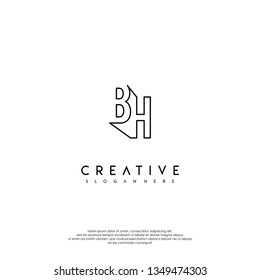 abstract BH logo letters modern lines design concept