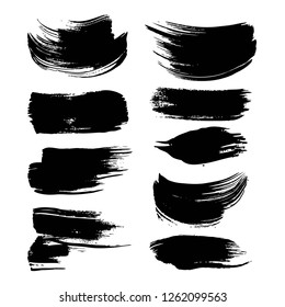 Abstract big black ink strokes set isolated on a white background