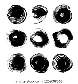 Abstract big black round ink strokes set isolated on a white background