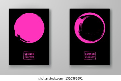 Abstract big color grunge circle on black background set. Brochure, banner, poster design. Sealed with decorative red stamp. Stylized symbol of Japan. Vector illustration.