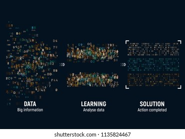 Abstract Big Data algorithms visualization. Sorting information and machine learning algorithms. Vector illustration.