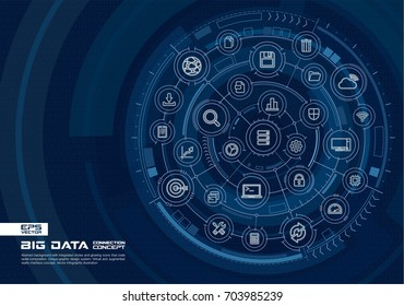 Abstract big data background. Digital connect system with integrated circles, glowing thin line icons. Virtual, augmented reality interface concept. Vector future infographic illustration