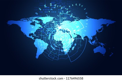 Abstract Big data Communication Technology global digital cryptocurrency Concept Global Blockchain, World information, web internet, money transfer, Bitcoin and Stock Exchange .vector illustration
