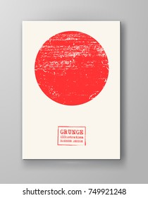 Abstract big red grunge circle on white background. Brochure, banner, poster design. Sealed with decorative red stamp. Stylized symbol of Japan. Vector illustration.