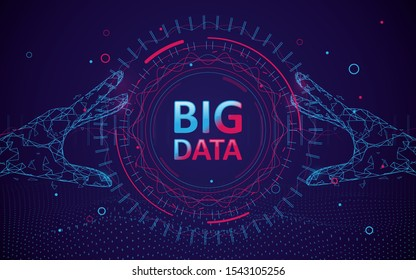 Abstract bigdata coding science background. Circle geometric particle. Hands touching big data stream futuristic infographic