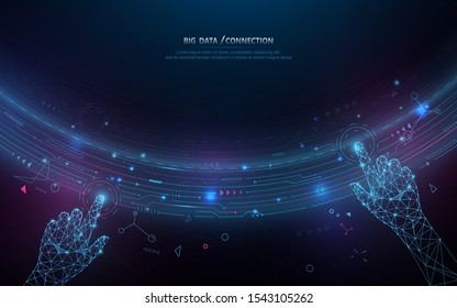 Abstract bigdata coding science background. Circle geometric particle. Hands touching big data stream and connection futuristic infographic