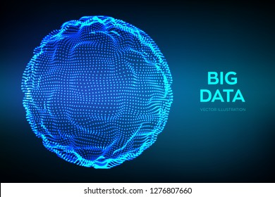 Abstract bigdata science background. Sphere grid wave. Big data innovation technology. Blockchain network analysis. Ai tech futuristic wireframe. Artificial intelligence. Vector illustration.