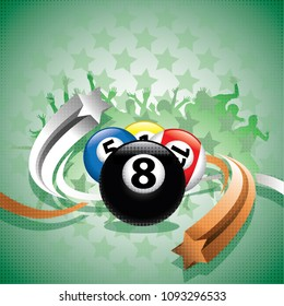 Abstract billiard background with a billiard balls, grey and light brown arrows and fans in the background