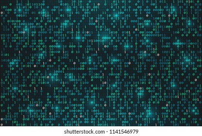 Abstract binary code background. Digital data concept. Bright streaming digits with lights on dark backdrop. Futuristic technology wallpaper. Vector illustration.