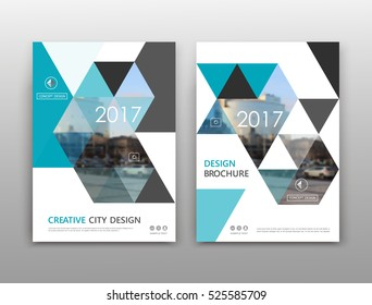 Abstract binder art. White a4 brochure cover design. Info banner frame. Text font. Title sheet model set. Modern vector front page. City view texture. Green figures mosaic icon. Elegant ad flyer fiber