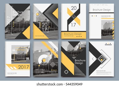 Abstract binder art. White a4 brochure cover design. Info banner frame. Elegant ad flyer text font. Title sheet model set. Fancy vector front page. City view blurb. Yellow lines, box block figure icon
