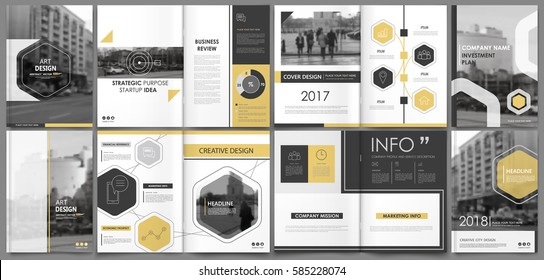 Abstract binder art. White a4 brochure cover design. Info banner frame. Elegant ad flyer text. Title sheet model set. Fancy vector front page. City font blurb .Yellow line, hexagon,  figure icon