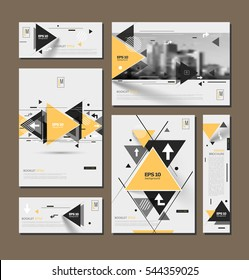 Abstract binder art. White brochure cover design. Info banner frame. Elegant ad flyer text font. A4 title sheet model set. Fancy vector front page. City view blurb. Yellow, black triangle figures icon