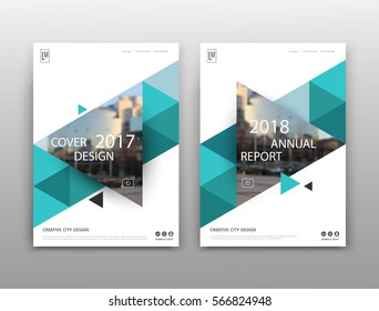 Abstract binder layout. White a4 brochure cover design. Fancy info text frame. Creative ad flyer font. Title sheet model set. Modern vector front page art. City view banner. Green triangle figure icon