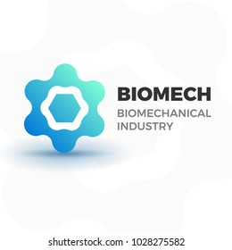 Abstract biotech business logo template. Vector logotype illustration of organic molecule or atom for company dealing with fuel, science, biology, medicine. Isolated on white background.