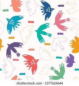 Abstract bird cloud cut out shapes. Vector pattern seamless background. Hand drawn matisse style collage graphic illustration. Trendy home decor, modern fashion prints, kids wallpaper. Rainbow colors.