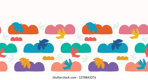 Abstract bird cloud cut out shapes. Vector border pattern seamless background. Hand drawn matisse style collage  ribbon trim illustration. Trendy home decor, modern fashion print, kids rainbow colors.