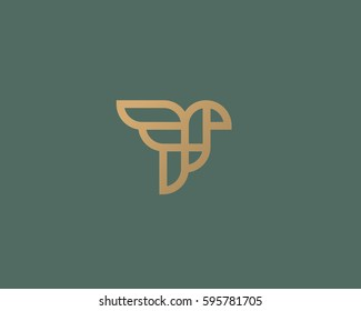 Abstract bird logo design. Creative eagle line symbol. Luxury linear falcon hawk logotype.