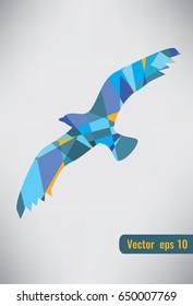Abstract bird logo design. Creative color sign symbol.