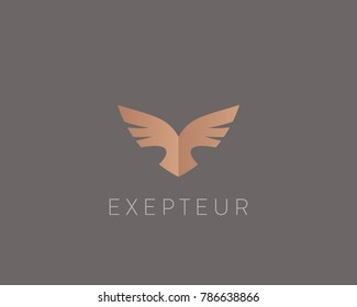 Abstract bird logo design. Creative eagle symbol. Luxury falcon hawk logotype.