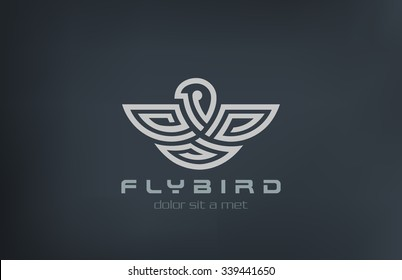 Abstract Bird Logo design vector template linear labyrinth style. Eagle, falcon, hawk Logotype concept maze symbol icon.
