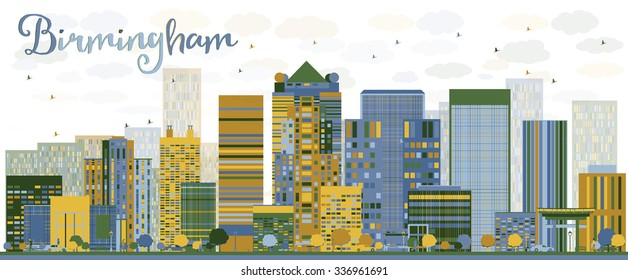 Abstract Birmingham (Alabama) Skyline with color Buildings. Vector Illustration. Business travel and tourism concept. Image for presentation, banner, placard and web site