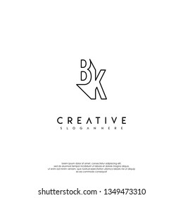 abstract BK logo letters modern lines design concept