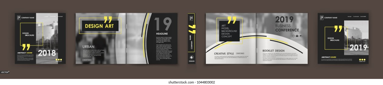 Abstract black A4 brochure cover design. Fancy info banner frame. Modern ad flyer text. Annual report binder. Title sheet model set. Fancy vector front page. City font blurb art. Yellow line figure