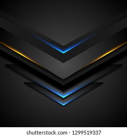 Abstract black arrows with blue orange glowing light. Vector technology design