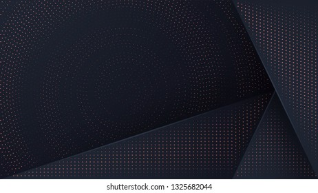 Abstract black background with a combination glowing golden dots with 3D style. Abstract black papercut textured background with shining golden halftone pattern.
