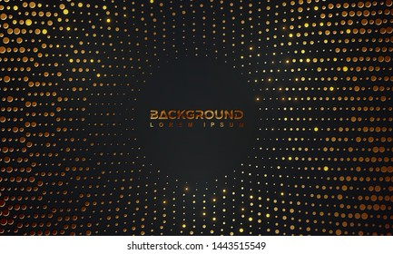 Abstract black background with a combination glowing golden dots. Circle black textured background with shining golden halftone pattern.