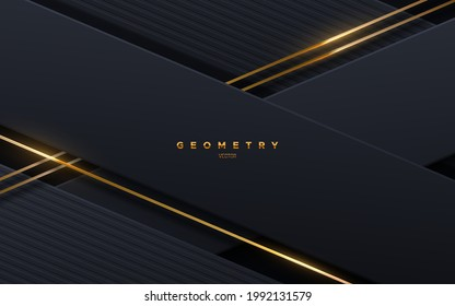 Abstract black background with golden glowing strings. Vector illustration. Geometric backdrop with textured black paper layers. Slanted shapes. Business presentation template. Minimalist decoration