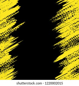 Abstract black background with grunge yellow lines and tire tracks