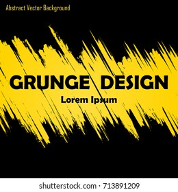 Abstract black background with grunge yellow lines and text