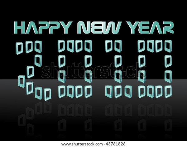 Abstract Black Background Happy New Year Stock Vector