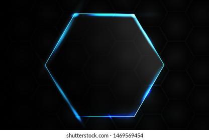 Abstract black background with hexagon frame transparent glass effect a combination with light neon border. Layer layout space on for text and background design