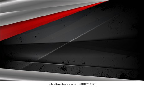 The abstract black background with metallic elements