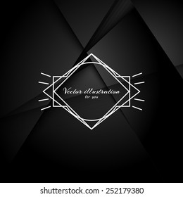 Abstract black background with realistic shadows. Retro Vintage Insignia and Logotype. Business Sign, Logo, Frame, Border and Other Design Element. EPS10.Template.