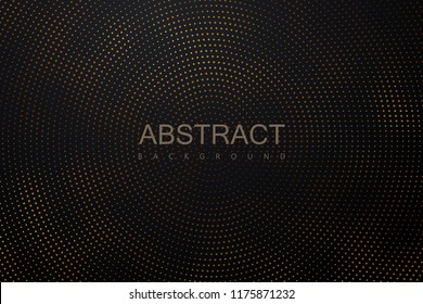 Abstract black background textured with radial golden halftone pattern. Vector illustration. Decoration element with stamped dotted ornament. Creative cover design template.