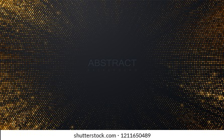 Abstract black background textured with radial golden halftone pattern. Vector illustration. Decoration element with stamped dotted ornament. Creative cover design template. Bursting light rays shape