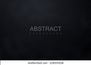 Abstract black background textured with radial silver halftone pattern. Vector illustration. Decoration element with stamped dotted ornament. Creative cover design template.