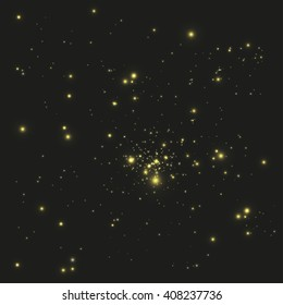 Abstract  black background with yellow points of light. Space and Stars