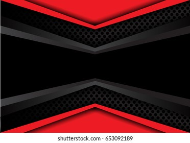 Abstract black banner dark gray red overlap on circle mesh design modern background texture vector illustration.