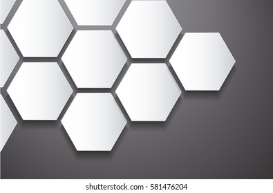 abstract black bee hive hexagon and space background