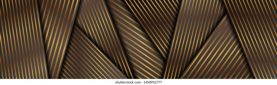 Abstract black and bronze corporate header banner with smooth lines. Golden deluxe background. Vector illustration design