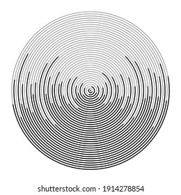 Abstract black concentric rotated lines. Vector illustration. Design element for technology round logo, striped border frame, tattoo, prints, monochrome pattern and abstract background