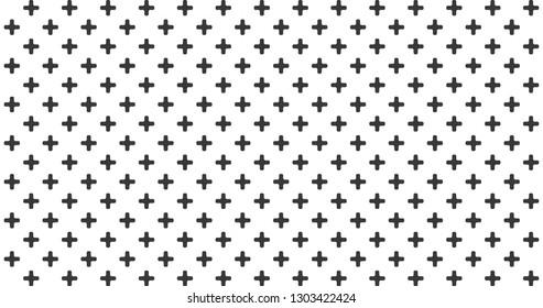 abstract black crosses minimal geometric pattern, background.