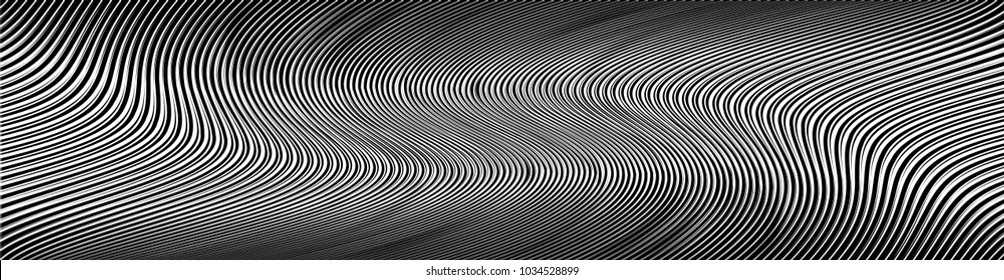 Abstract Black Diagonal Striped Background . Vector curved slanting, oblique lines texture